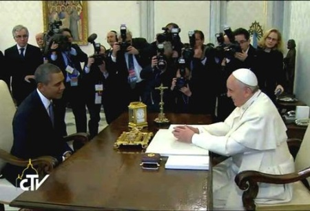 El Papa Francisco y Obama en el Vaticano