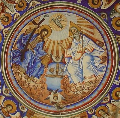 a.The Holy Trinity an Orthodox wall painted icon at 2. the ceiling of the entrance (πρόστωον) Vatopedion Monastery at Agion Oros (Mount Athos), Greece