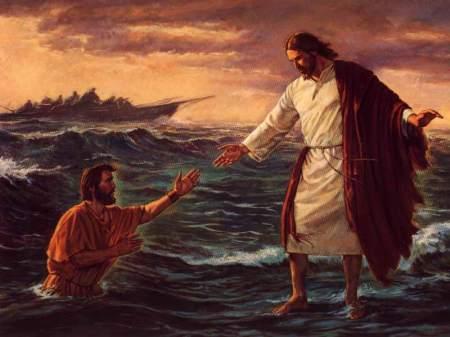 Pedro camina sobre las aguas