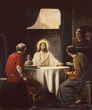 Sentado a la mesa con ellos, tomó pan, pronunció la bendición, lo partió y se lo dio