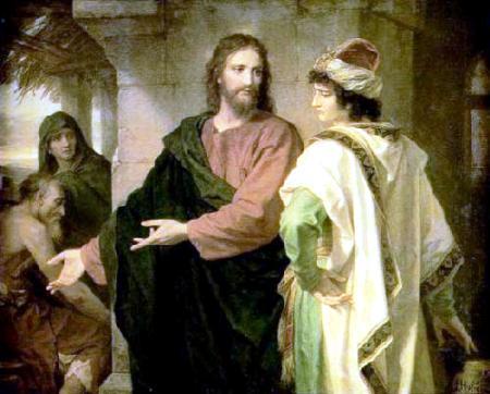 Él frunció el ceño y se marchó pesaroso, porque era muy rico