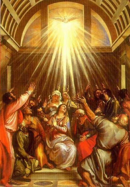 Cuando llegó el día de Pentecostés, todos los discípulos estaban reunidos en oración, vino un viento recio... y quedaron llenos del Espíritu Santo