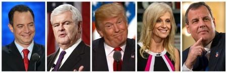 De izquierda a derecha: Reince Priebus, Newt Gringrich, Donald Trump, Kellyane Conway y Chris Christie
